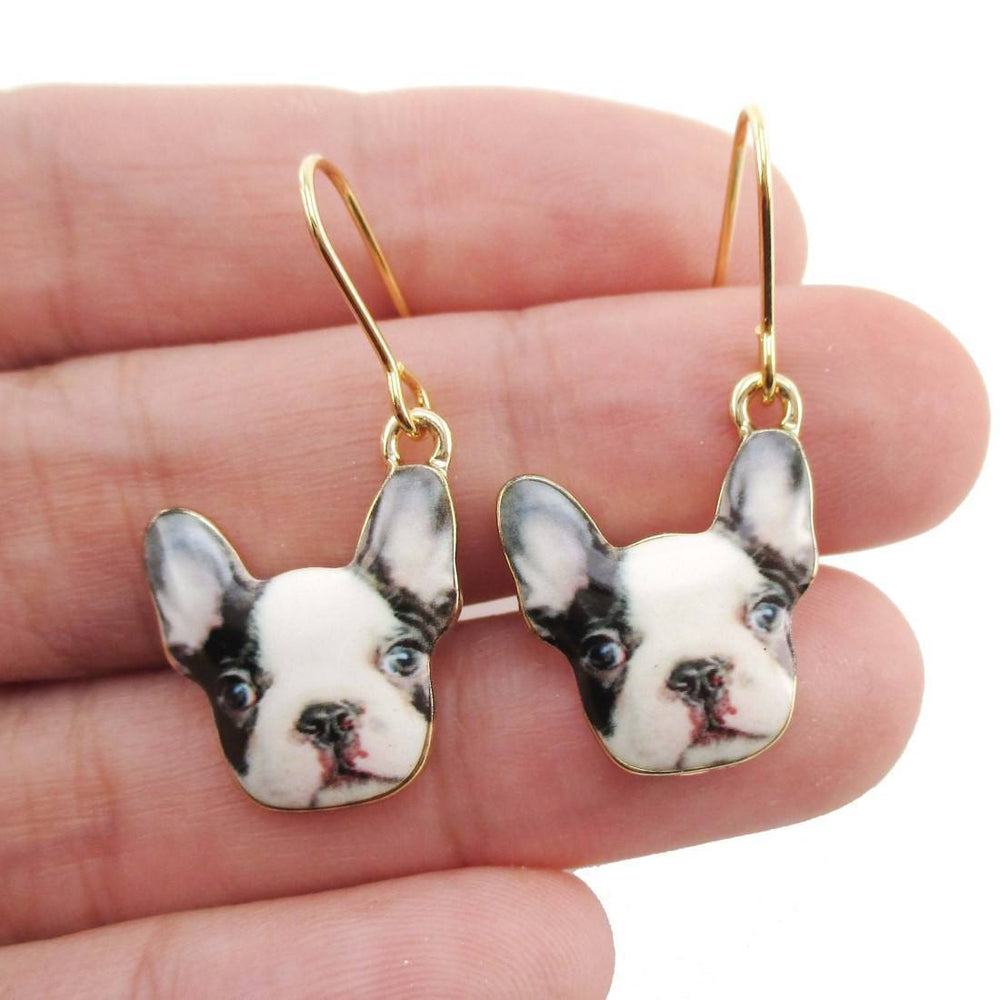 Black and White French Bulldog Puppy Shaped Dangle Drop Earrings | Animal Jewelry | DOTOLY
