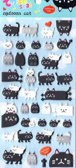 Black and White Kitty Cat Animal Themed Puffy Stickers for Scrapbooking and Decorating | DOTOLY