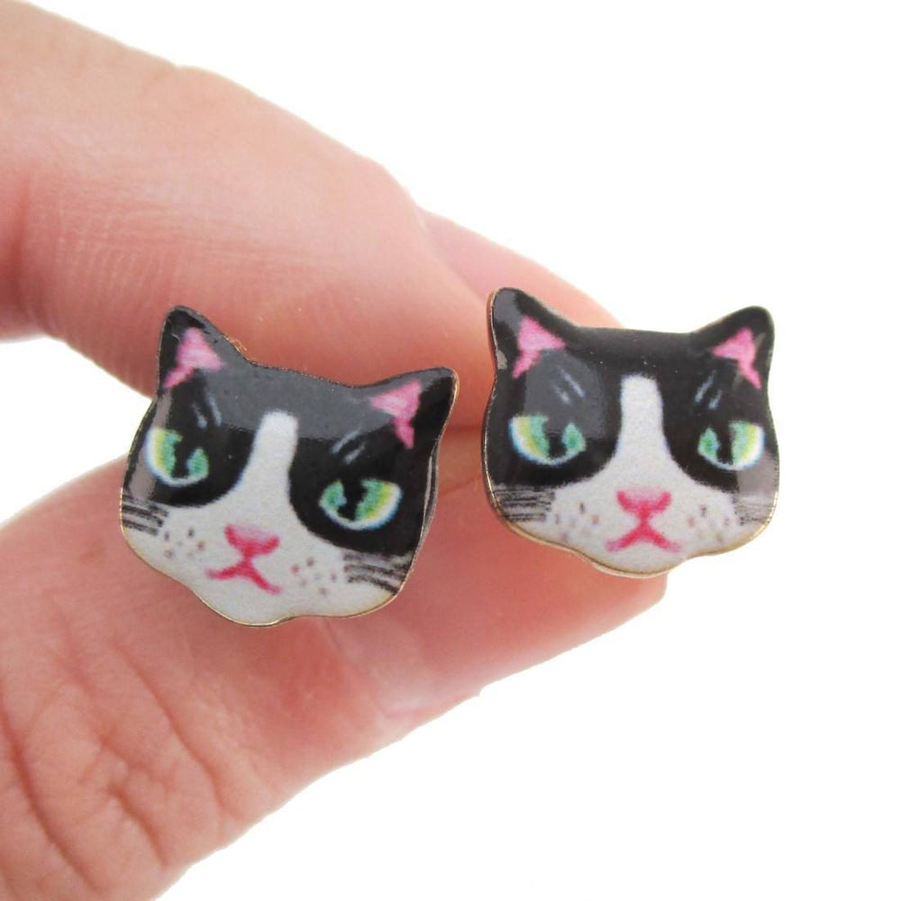 Black and White Kitty Cat Hand Drawn Face Shaped Stud Earrings | Animal Jewelry | DOTOLY
