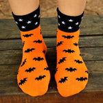 Black Bats and Stars Print Googly Eye Flip Short Cotton Socks for Women | DOTOLY