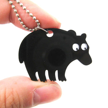 Black Bear Silhouette Shaped Pendant Necklace in Acrylic | Animal Jewelry | DOTOLY