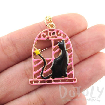 Black Cat in a Window Shaped Pendant Necklace | Animal Jewelry | DOTOLY