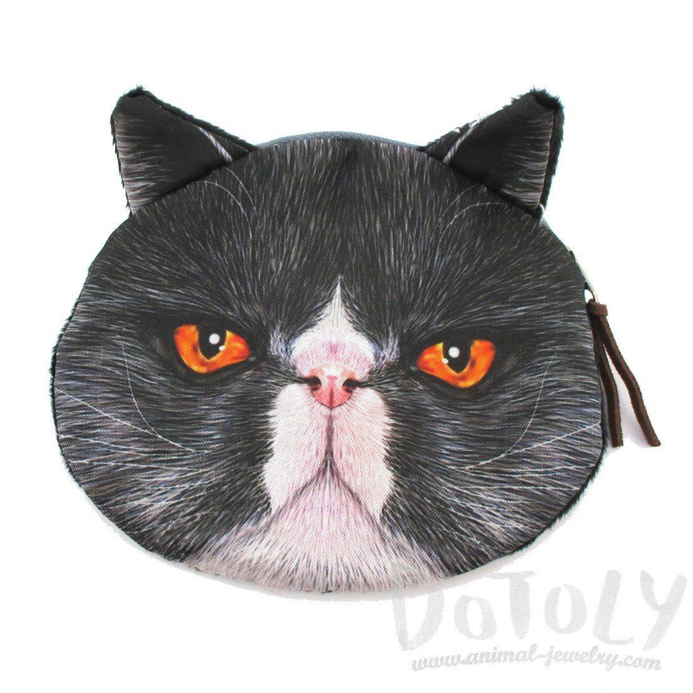 Black Grumpy Kitty Cat Face Shaped Coin Purse Make Up Bag with Orange Eyes | DOTOLY