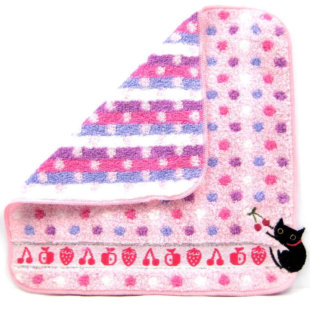 Black Kitty Cat Embroidered Polka Dotted Handkerchief Face Towel in Pink | Japan | DOTOLY