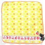 Black Kitty Cat Embroidered Polka Dotted Handkerchief Face Towel in Yellow | Japan | DOTOLY