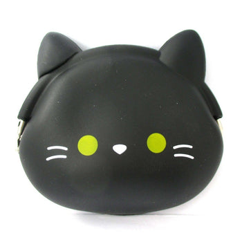 Black Kitty Cat Face Shaped Mimi Pochi Animal Friends Silicone Clasp Coin Purse Pouch | DOTOLY