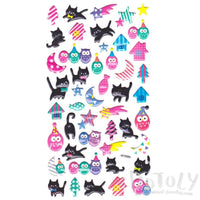 Cute Black Kitty Cat Owls and Shooting Stars Shaped Raised Stickers