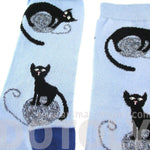 Black Kitty Cat Playing with A Ball of Yarn Novelty Print Socks for Women in Blue | DOTOLY