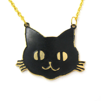 Black Kitty Cat Shaped Animal Pendant Necklace | Limited Edition | DOTOLY