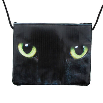 Black Kitty Cat With Green Eyes Print Rectangular Shaped Cross Body Bag | DOTOLY