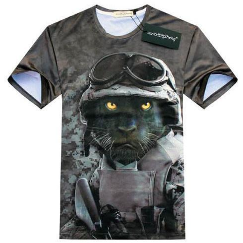 Black Panther Army Print Graphic Tee T-Shirt in Grey | Gifts for Animal Lovers | DOTOLY