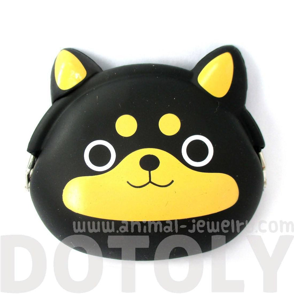 Black Shiba Inu Puppy Dog Shaped Mimi Pochi Animal Friends Silicone Clasp Coin Purse Pouch | DOTOLY