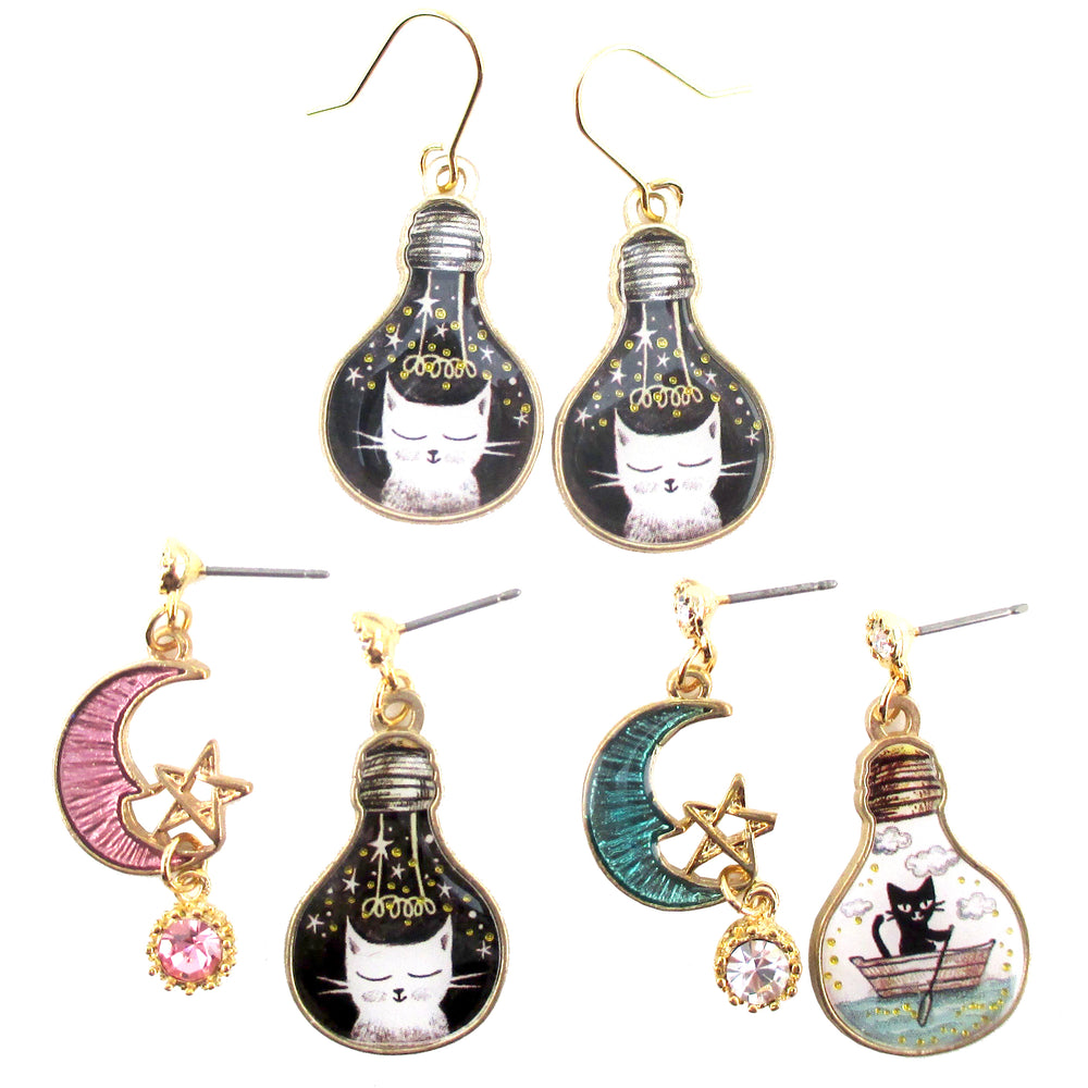 Kitty Cat Crescent Moon Star Space Cat Light Bulb Shaped Stud Earrings