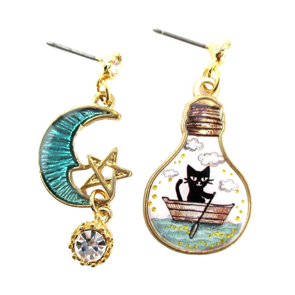 Black Kitty Cat on a Sailboat Crescent Moon Star SLight Bulb Shaped Stud Earrings