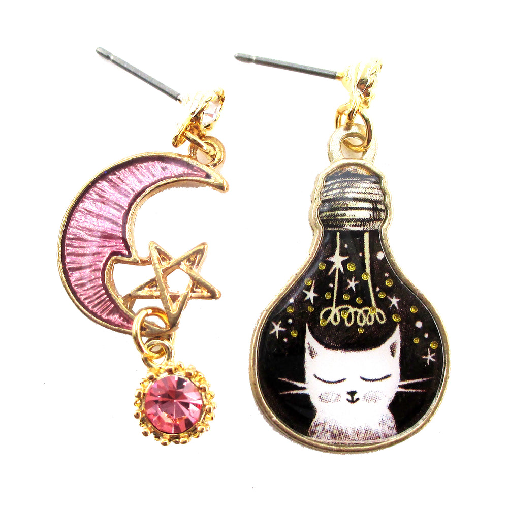 Kitty Cat Pink Crescent Moon Star Space Cat Light Bulb Shaped Stud Earrings