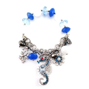Blue and White Beaded Starfish Rhinestone Charm Bracelet | DOTOLY