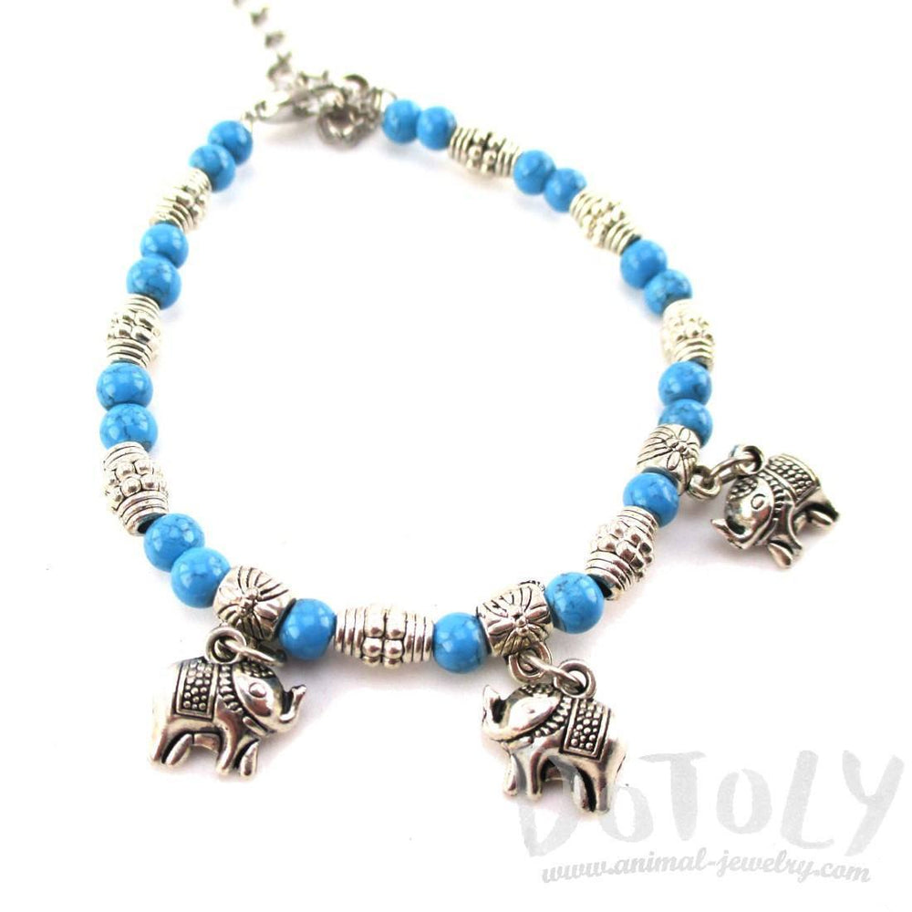 Blue Beaded Elephant Charm Bracelet in Silver | Animal Jewelry | DOTOLY