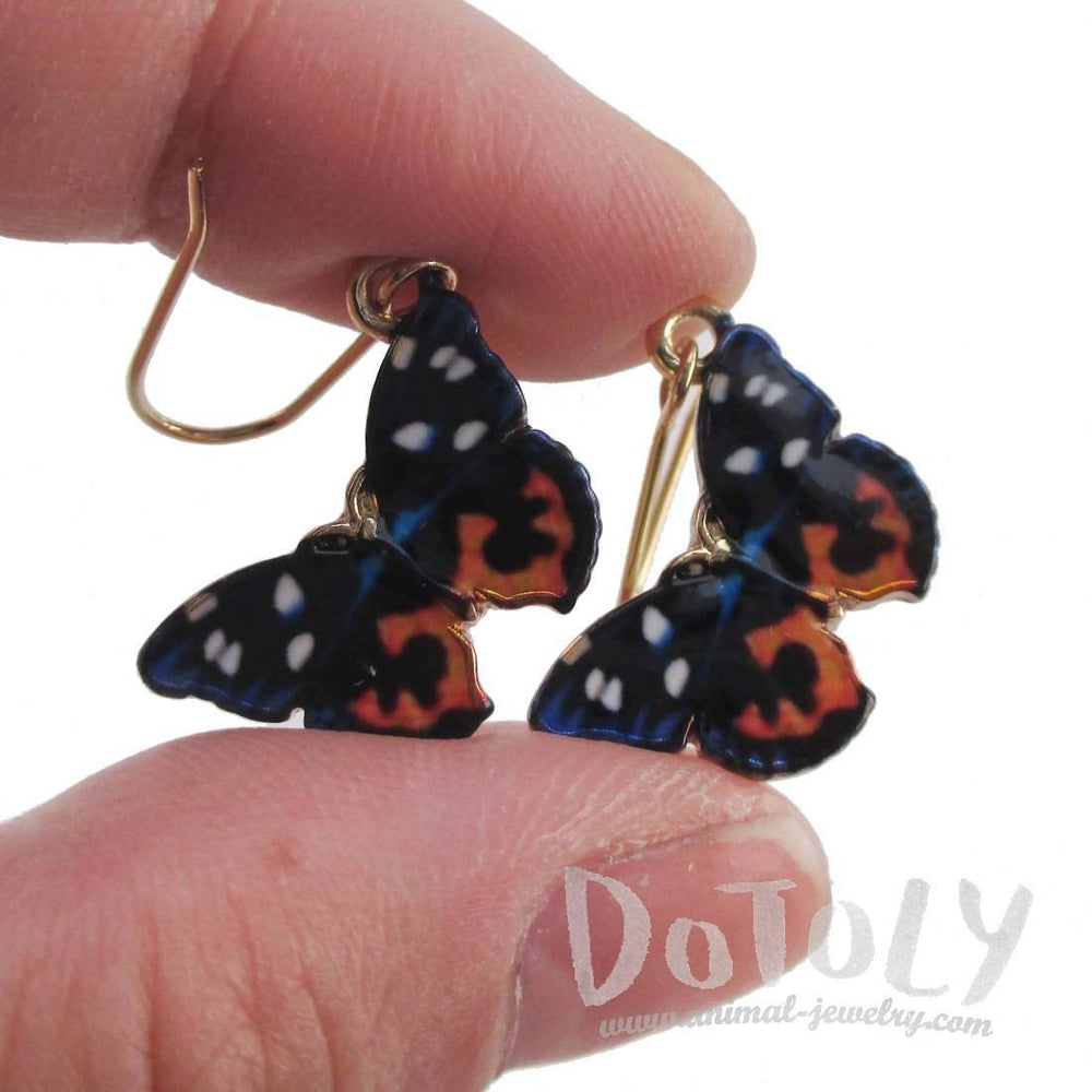 Blue Black Orange Butterfly Shaped Dangle Earrings | Animal Jewelry