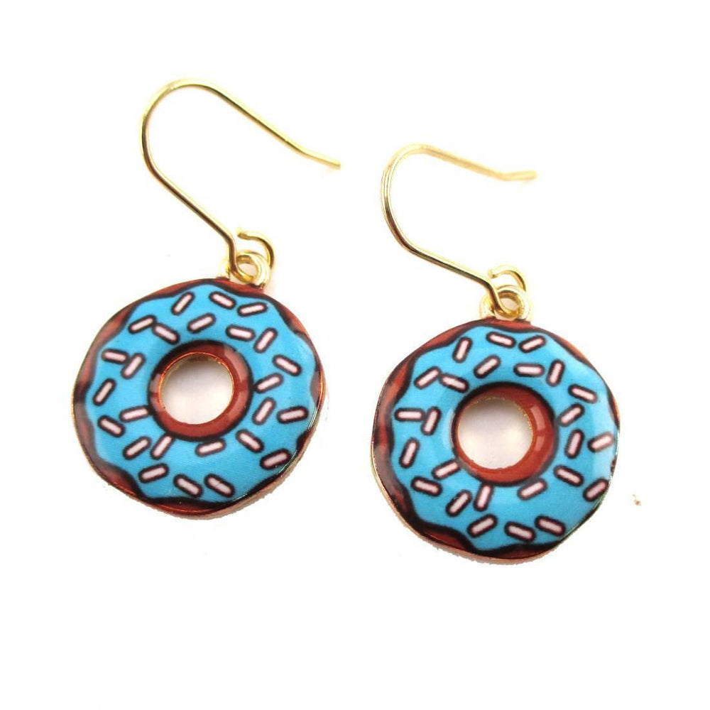 Blue Handmade Donut Shaped Dangle Earrings | Food Themed Jewelry | DOTOLY