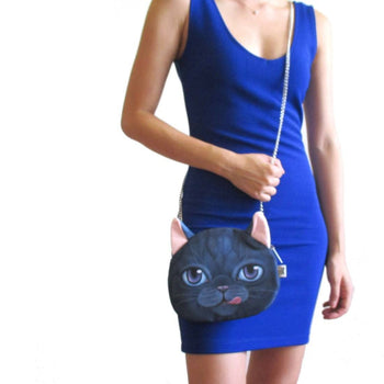 Blue Kitty Cat Head Shaped Fabric Cross Body Sling Bag | Gifts for Cat Lovers | DOTOLY