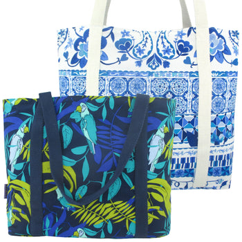 Blue Floral Tropical Bird Print Large Utility Zip Closure Market Tote Bag