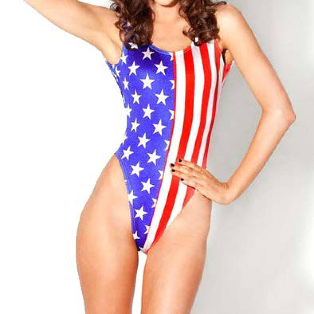 Blue Stars Red Stripes USA Flag Digital Print Scoop Neck Sleeveless Bodysuit for Women | DOTOLY