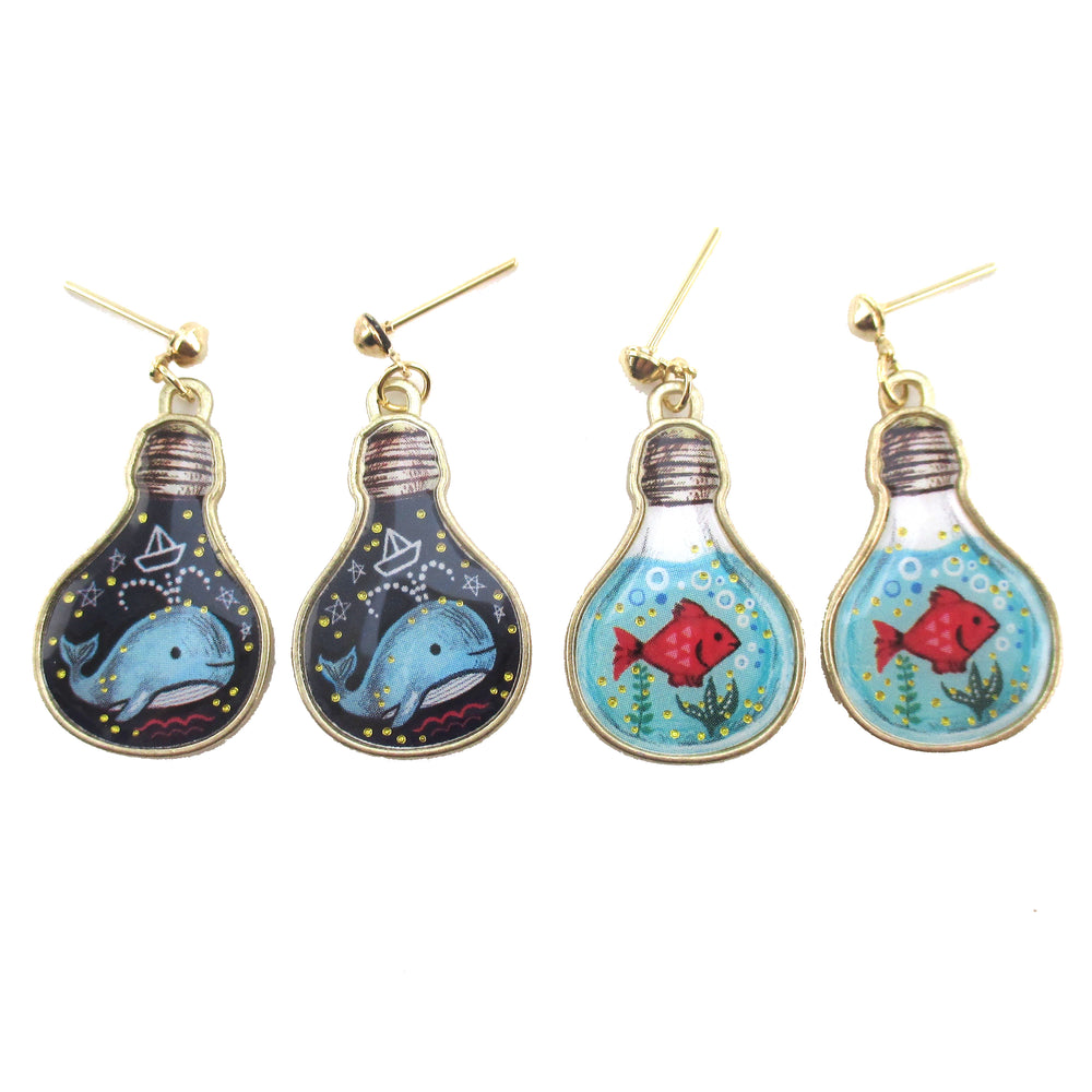 Blue Whale Goldfish Light Bulb Terrarium Shaped Drop Stud Earrings