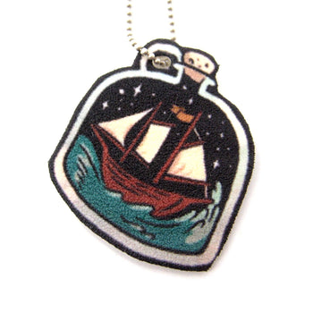 Boat in A Bottle on a Stormy Night Illustration Pendant Necklace | Handmade Shrink Plastic | DOTOLY