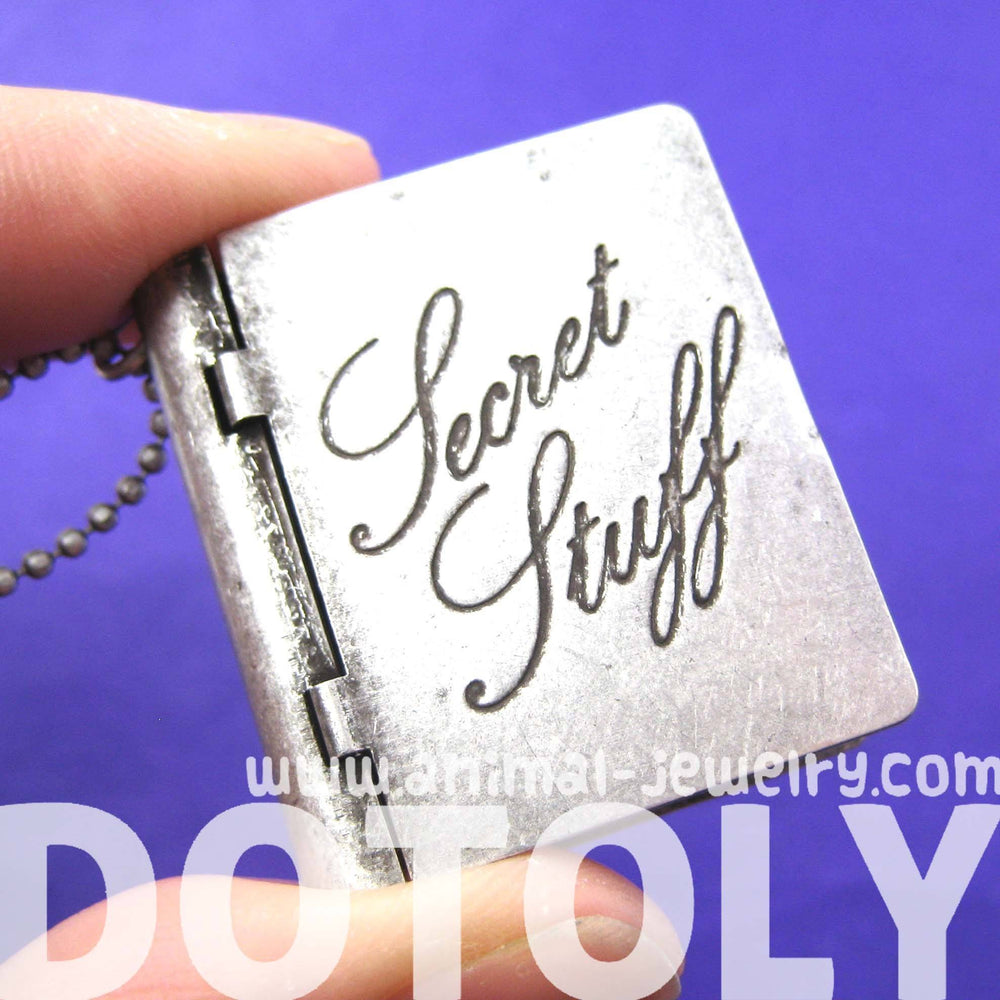 "Book of ""Secret Stuff"" Shaped Pendant Locket Necklace in Silver 