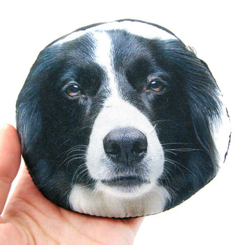 Border Collie Puppy Dog Face Shaped Soft Fabric Zipper Coin Purse Make Up Bag | DOTOLY