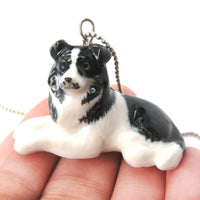 Border Collie Puppy Dog Porcelain Ceramic Animal Pendant Necklace | Handmade | DOTOLY