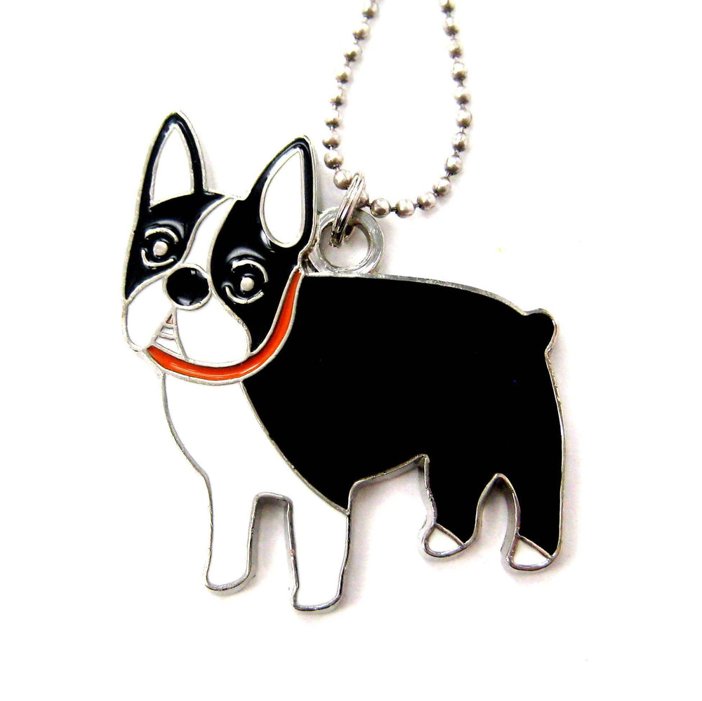 Boston Terrier French Bulldog Puppy Dog Shaped Animal Pendant Necklace | DOTOLY
