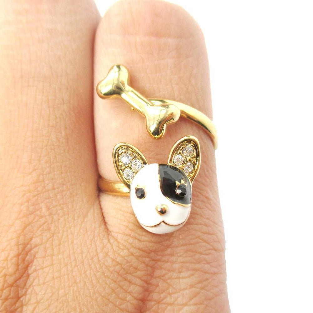 Boston Terrier Puppy Face and Bone Shaped Adjustable Wrap Ring | Gifts for Dog Lovers | DOTOLY