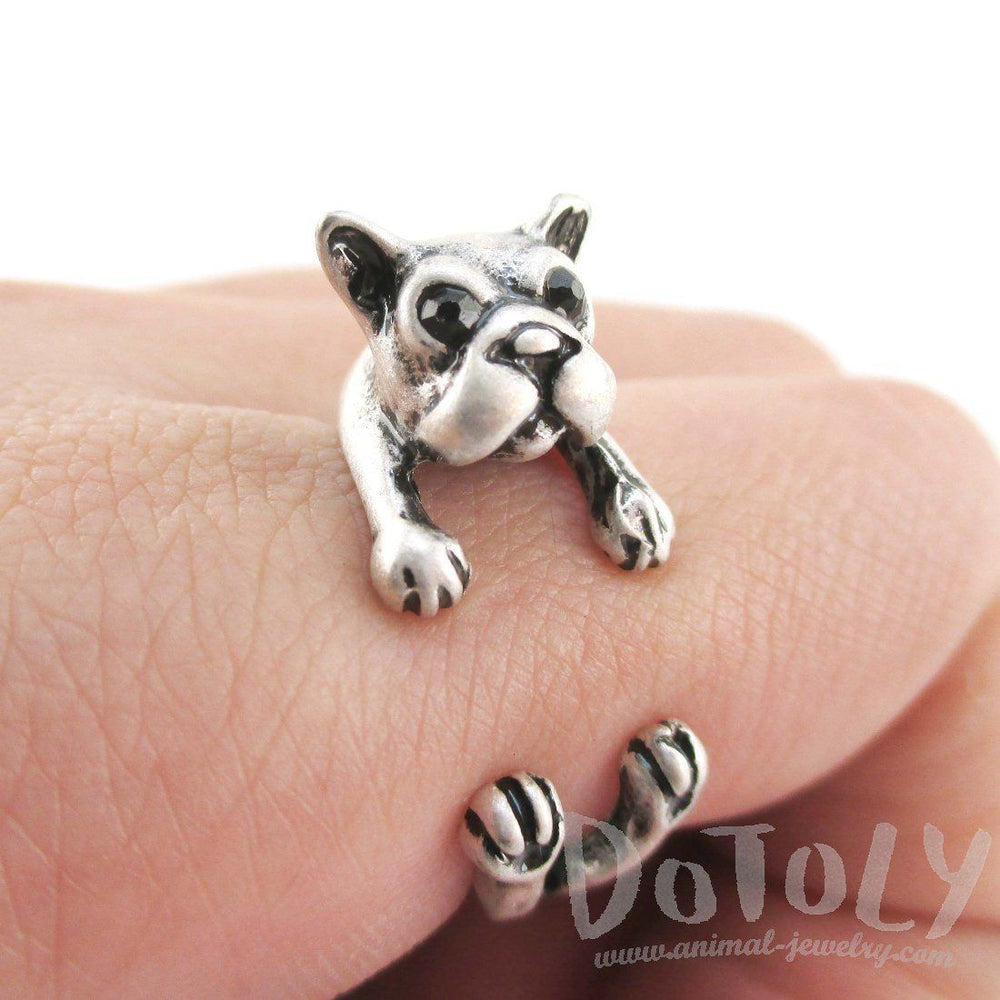 Boston Terrier Puppy Shaped Animal Wrap Ring in Silver | US Size 5 to 8 | DOTOLY