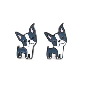 Boston Terrier Shaped Enamel Stud Earrings for Dog Lovers | DOTOLY