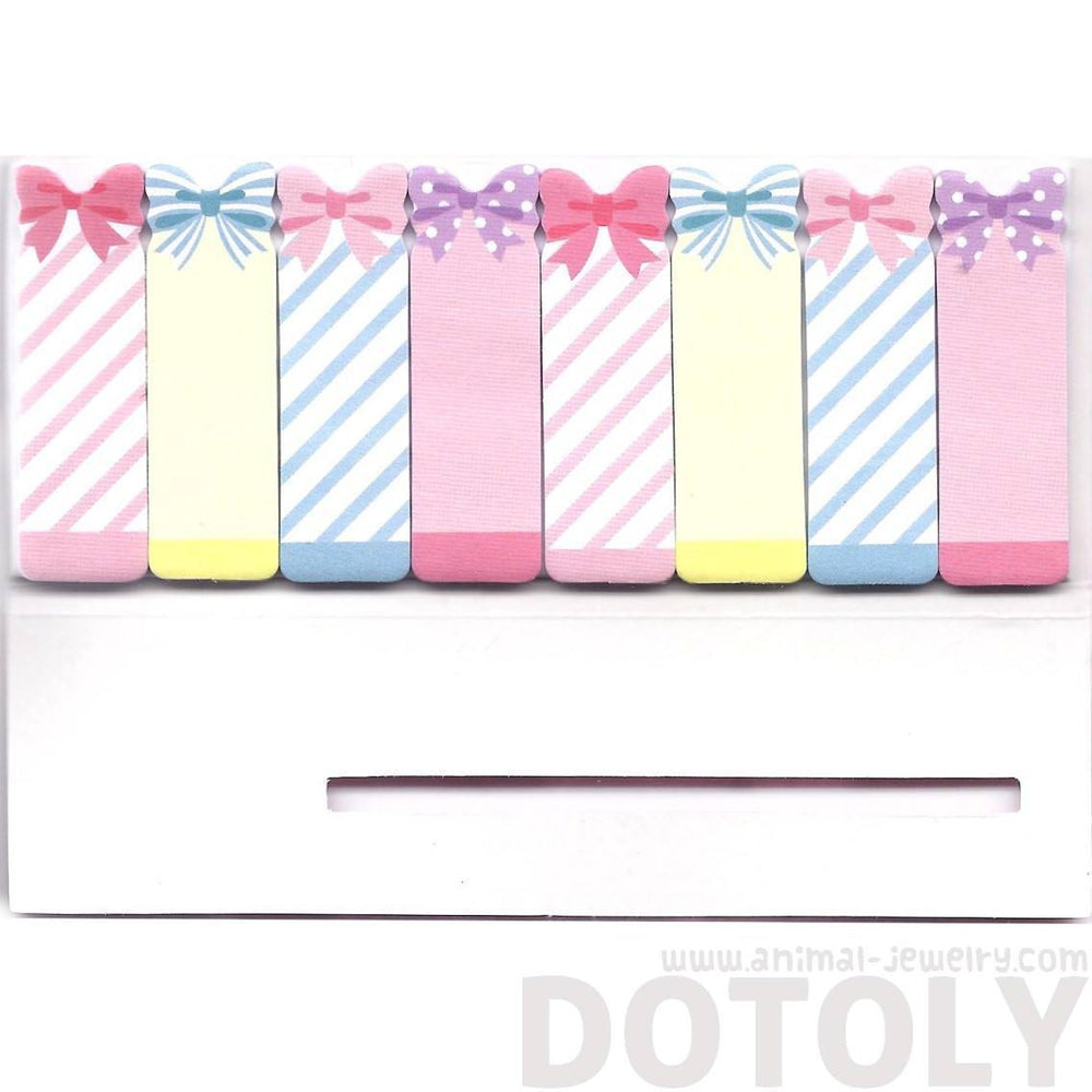 Bow Tie and Ribbon Shaped Girly Memo Post-it Index Bookmark Tabs in Pink | DOTOLY