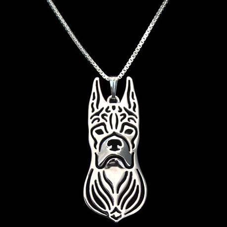 Boxer Dog Face Cut Out Shaped Pendant Necklace in Silver | Animal Jewelry | DOTOLY