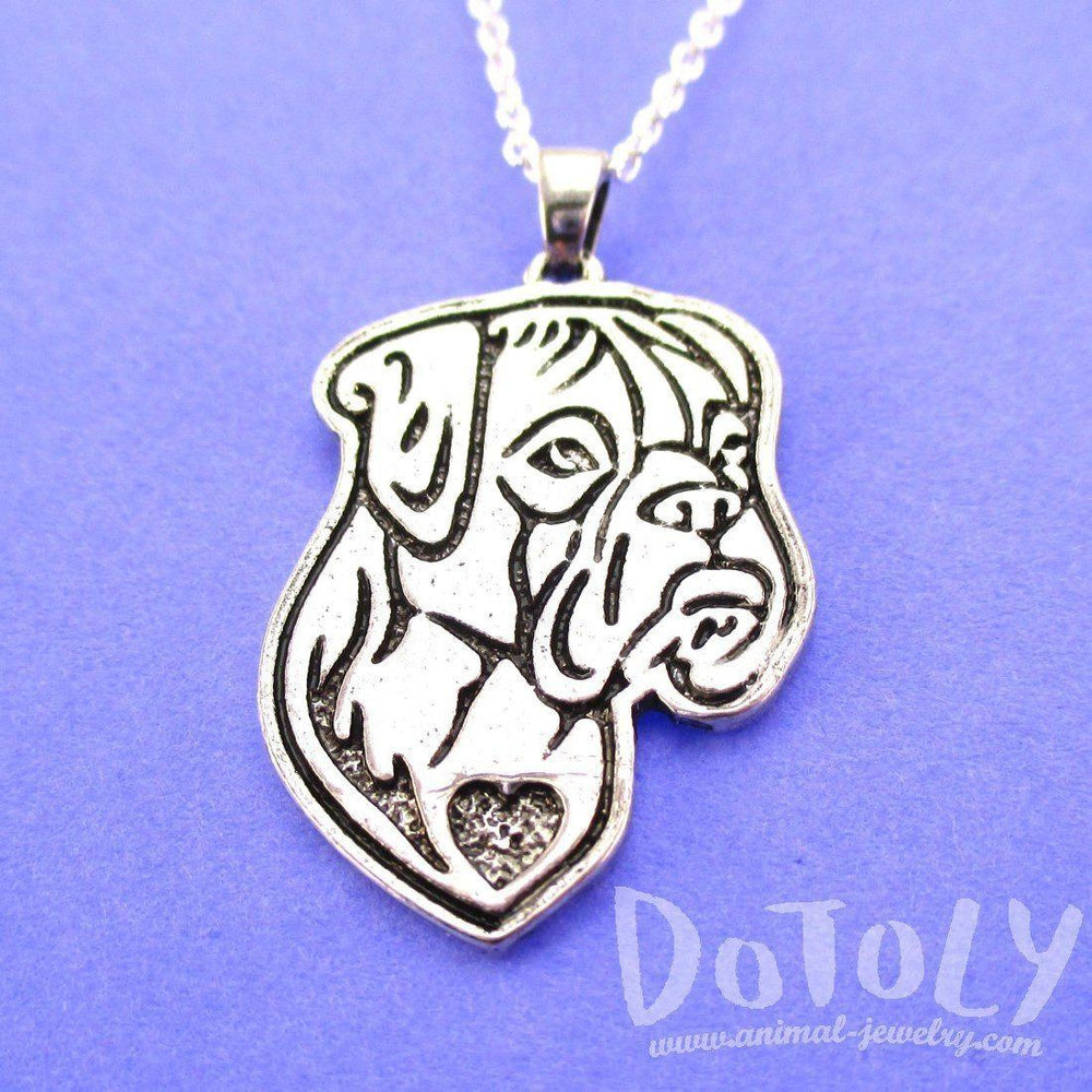 Boxer Puppy Dog Portrait Pendant Necklace in Silver | Animal Jewelry | DOTOLY