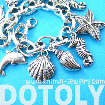 Sea Creatures Themed Charm Bracelet: Starfish Seahorse Seashell Dolphins | DOTOLY