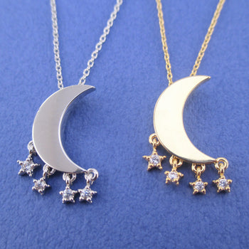 Bright Crescent Moon Pendant Dangling Rhinestone Star Charm Necklace