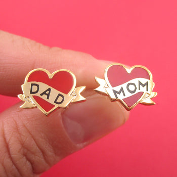 Bright Red Heart Shaped Mom and Dad Tattoo Inspired 925 Sterling Silver Stud Earrings