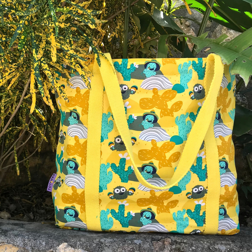 Bright Yellow Cactus Desert Print Large Utility Market Tote Bag with Zip
