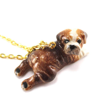 British Bulldog Puppy Dog Porcelain Hand Painted Ceramic Animal Pendant Necklace | Handmade | DOTOLY