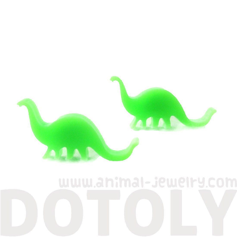 Brontosaurus Silhouette Dinosaur Shaped Laser Cut Stud Earrings in Green | DOTOLY