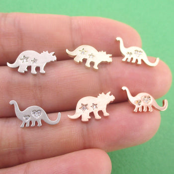 Brontosaurus Triceratops Dinosaur Silhouette Shaped Stud Earrings