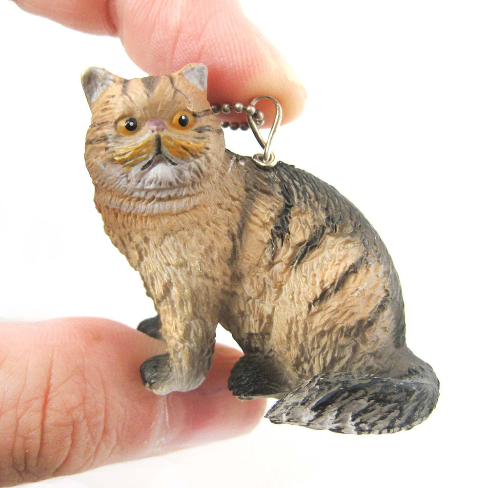 Brown and Black Tabby Kitty Cat Animal Plastic Pendant Necklace | Animal Jewelry | DOTOLY