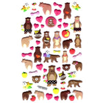 Brown Bear and Honey Animal Themed Puffy Stickers for Scrapbooking | DOTOLY