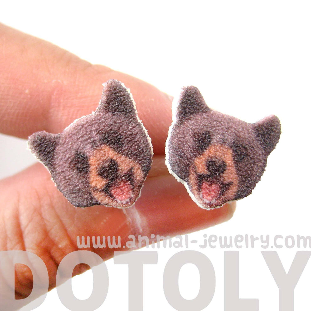 Brown Bear Head Animal Shaped Stud Earrings | Handmade Shrink Plastic | DOTOLY