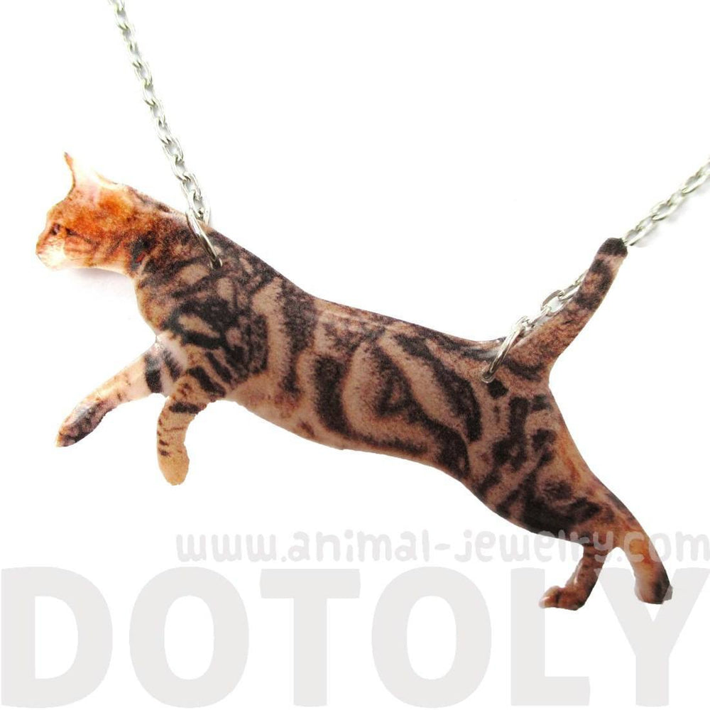 Brown Striped Kitty Cat Jumping in Mid Air Shaped Pendant Necklace | Handmade | DOTOLY