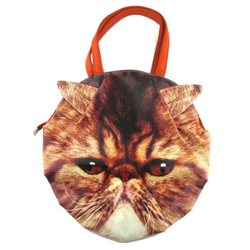 Brown Tabby Cat Face Shaped Shoulder Bag | Gifts for Cat Lovers | DOTOLY
